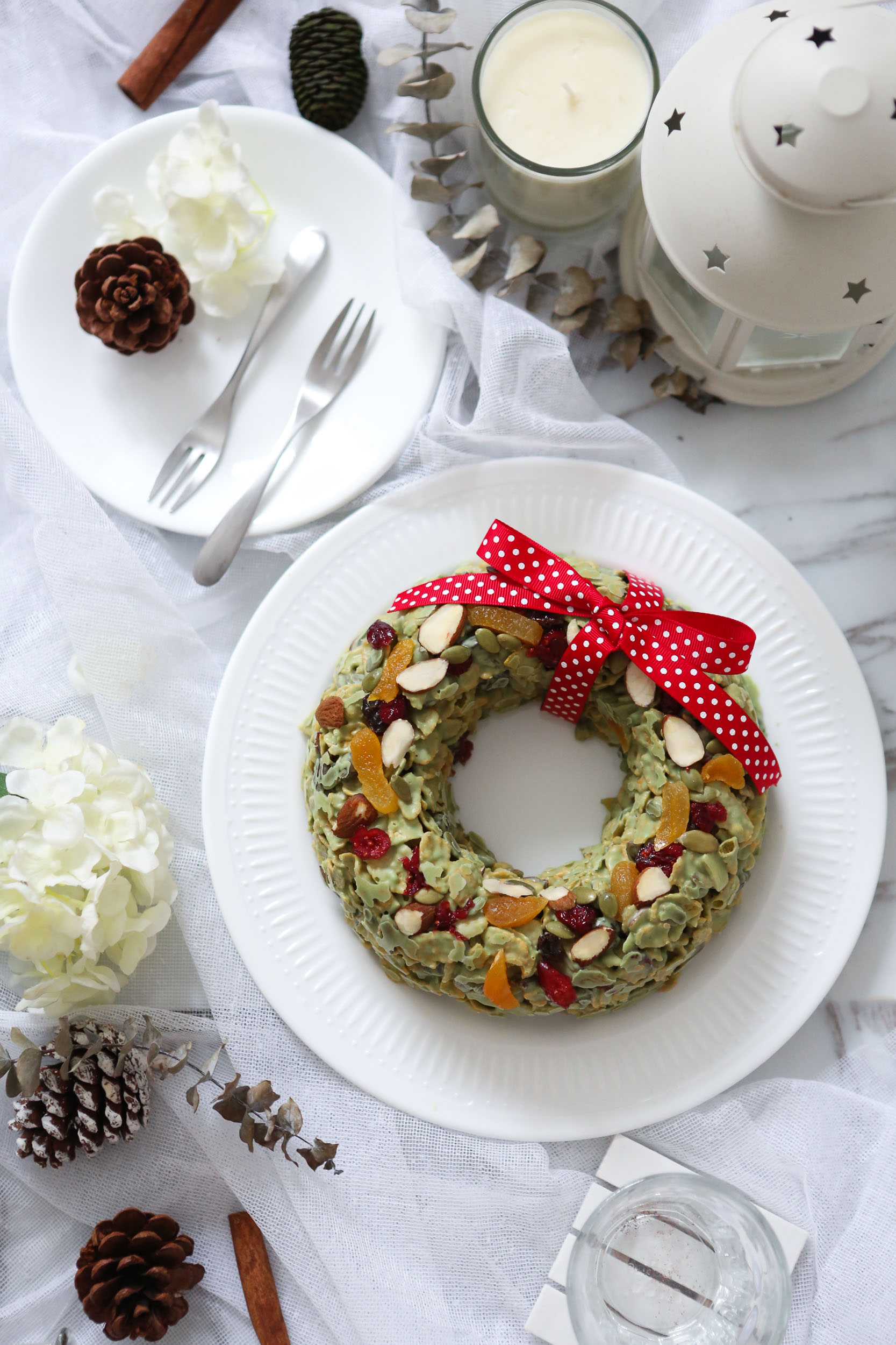 Green Tea Chocolate Cornflakes Wreath - $38Green Tea infused white chocolate, Cornflakes, assortment of dried cranberries, apricot, sultanas and lightly toasted slivered almonds and pumpkin seeds