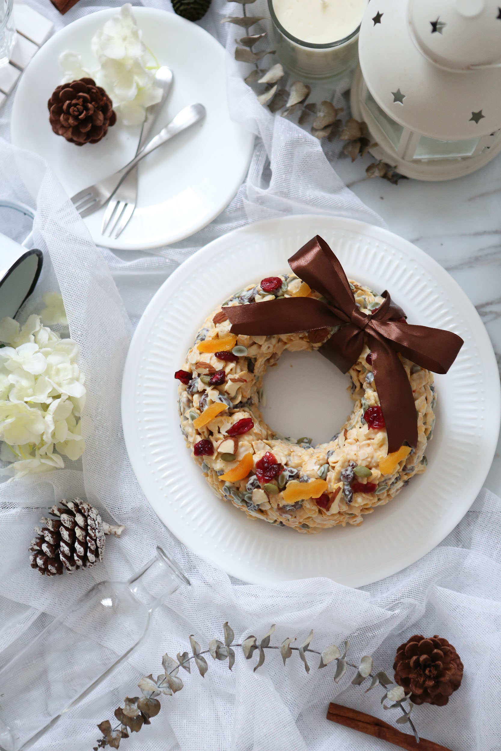 White Chocolate Cornflakes Wreath - $34White chocolate, Cornflakes, assortment of dried cranberries, apricot, sultanas and lightly toasted slivered almonds and pumpkin seeds