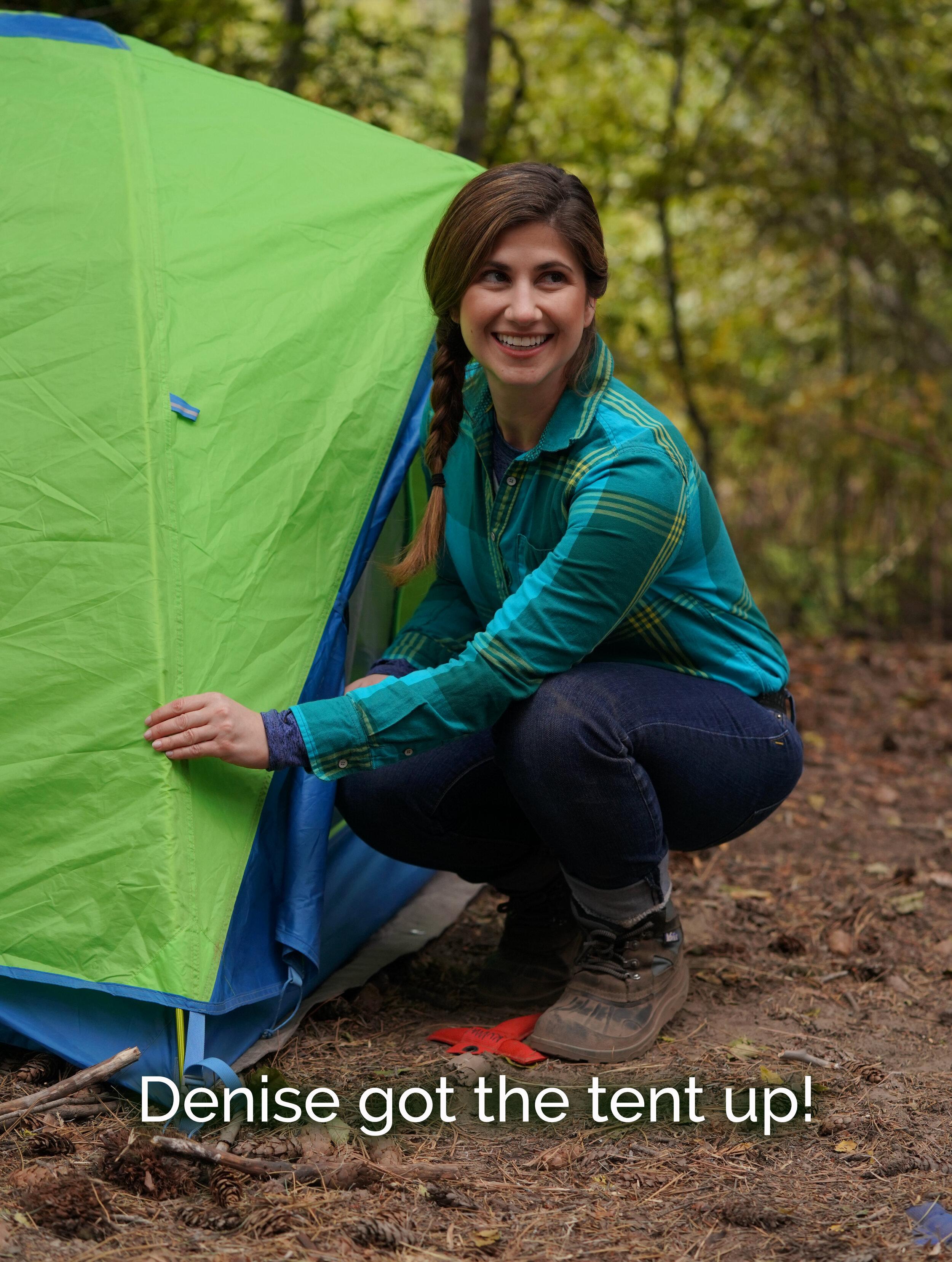 Denise got the tent up.JPG