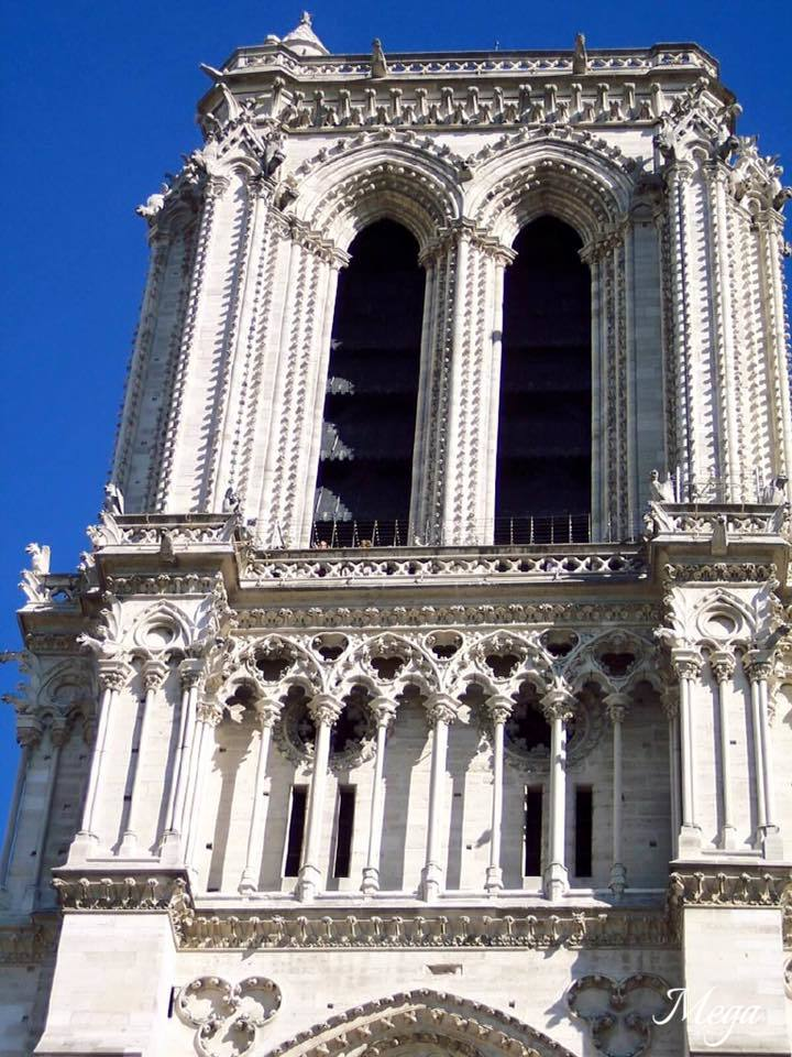 As you are looking at the front of Notre Dame - This is the Left side tower - which firefighters had to fight to save.