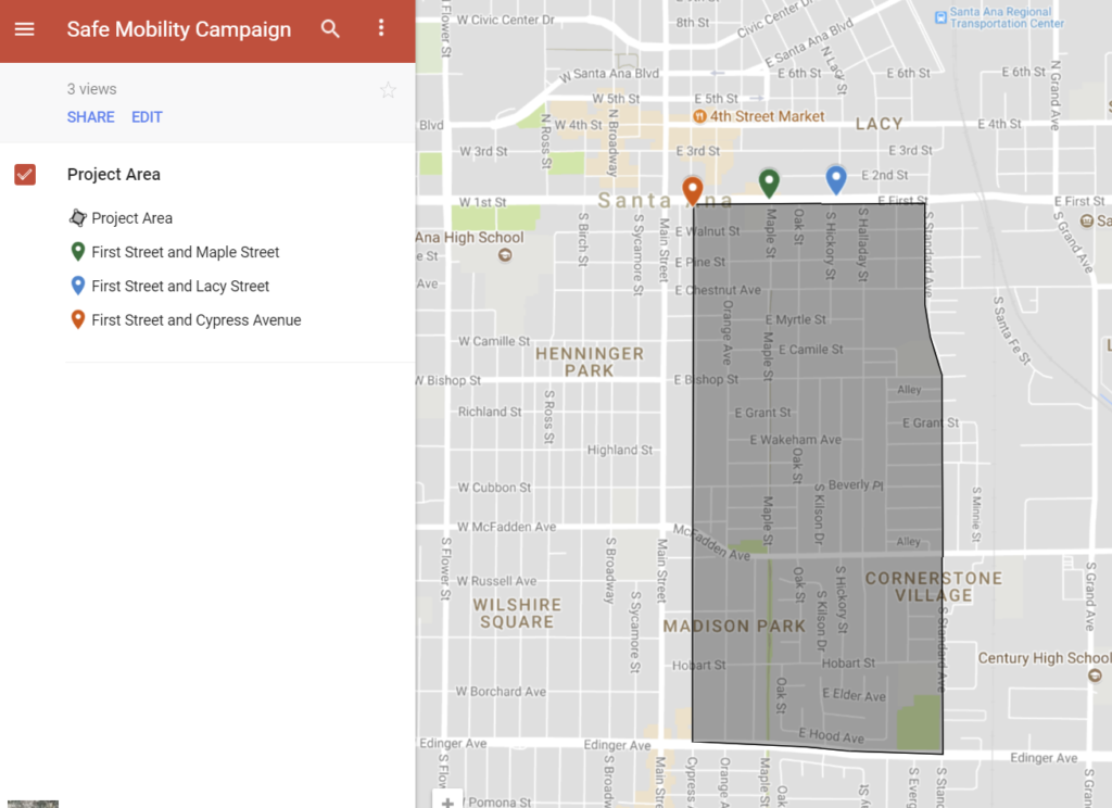 The pin drops show where the safe mobility campaign team will conduct an audit of bicyclists, pedestrian, and motorist behaviors. Image: Google Maps