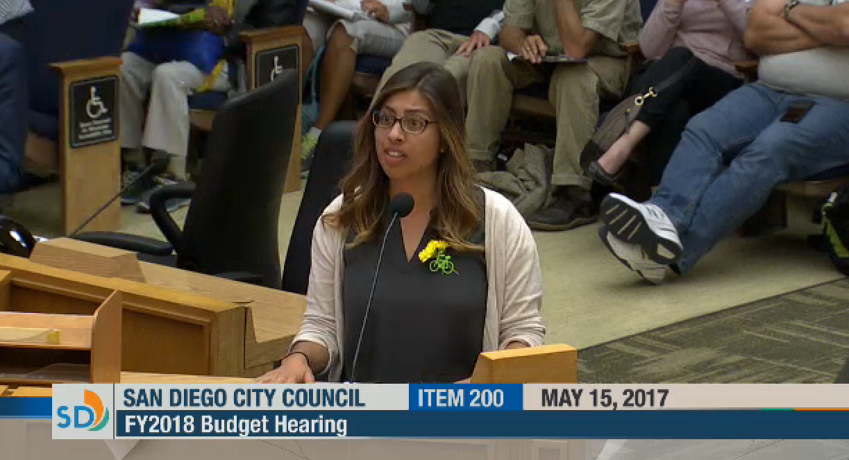 Circulate staffer, Paola Boylan, advocating for Vision Zero funding at FY2018 Budget Hearing.
