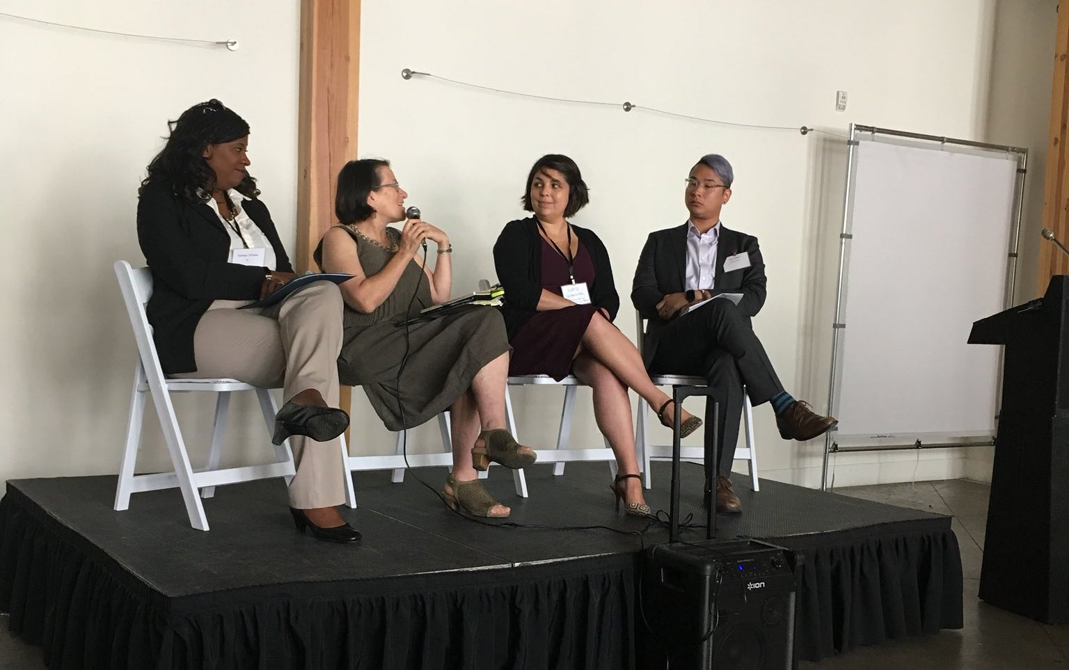 Cal Walks ED Tony Dang moderating opening panel of Transportation Equity Summit featuring Ellen Greenberg, Katie Valenzuela, and Tamika L'Ecluse