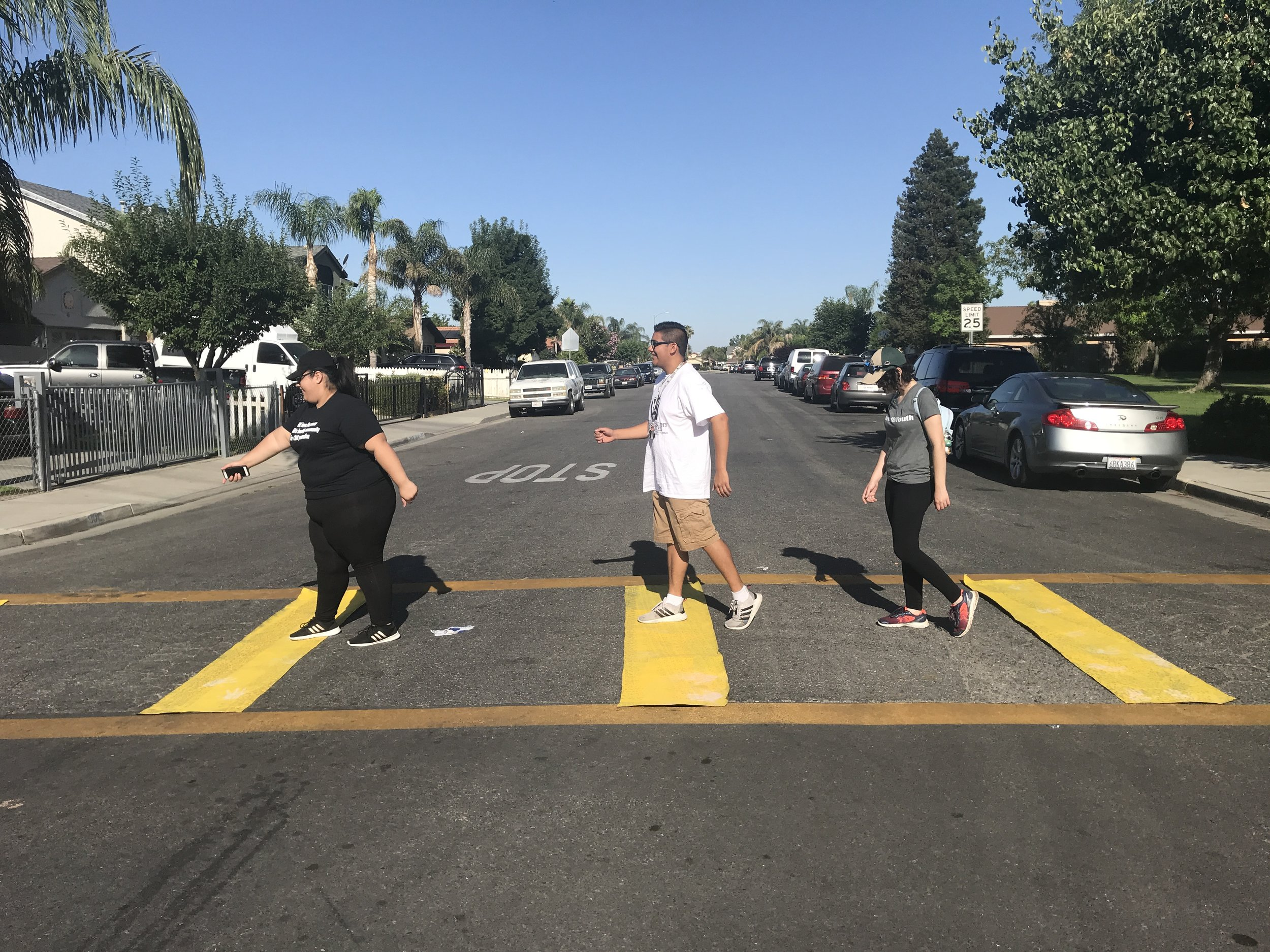 Posing in our completed temporary high-visibility crosswalk.