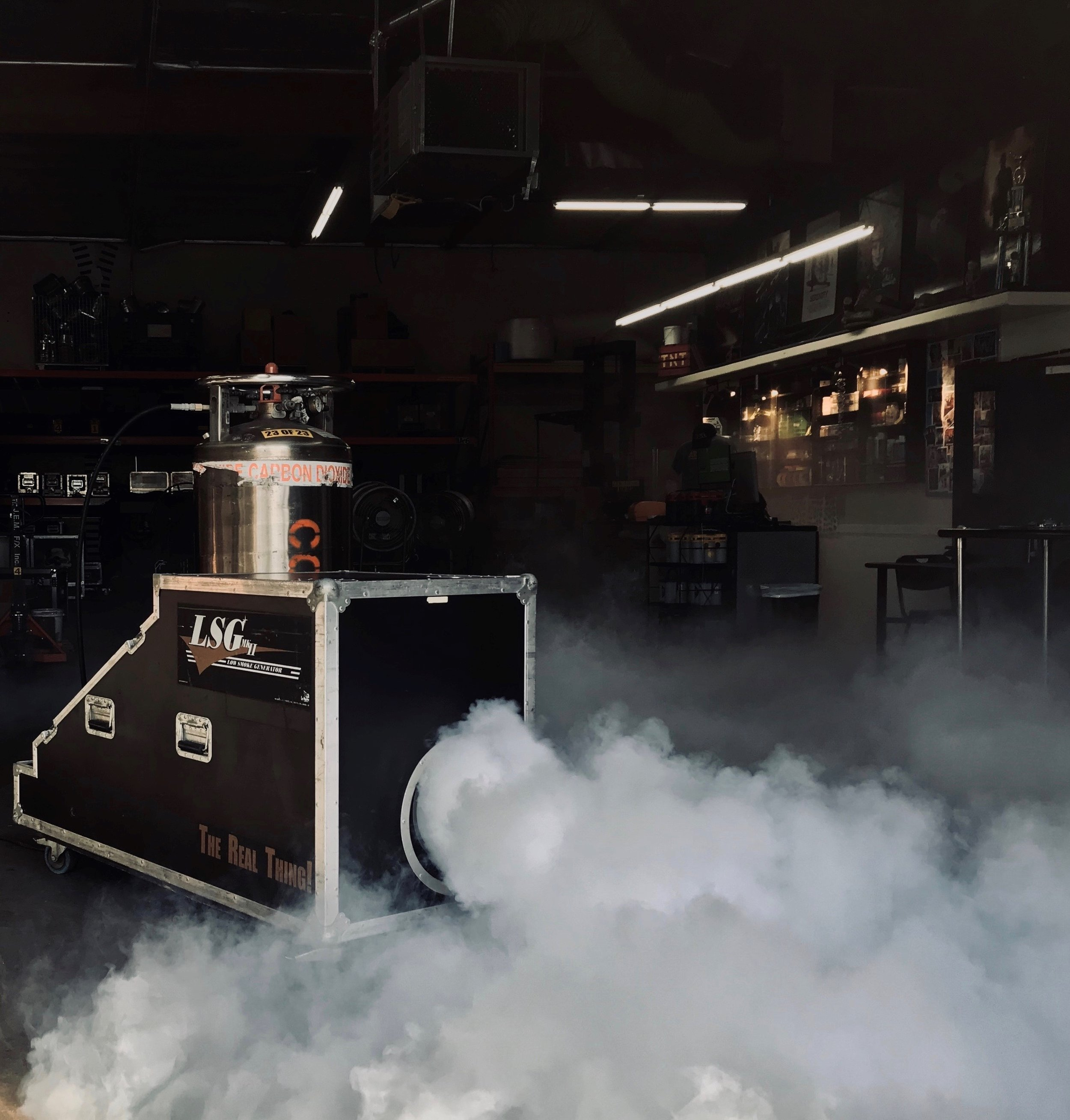 Fog Machines - Need light atmospheric haze or dense, low fog? Call us today to see what we can get you.
