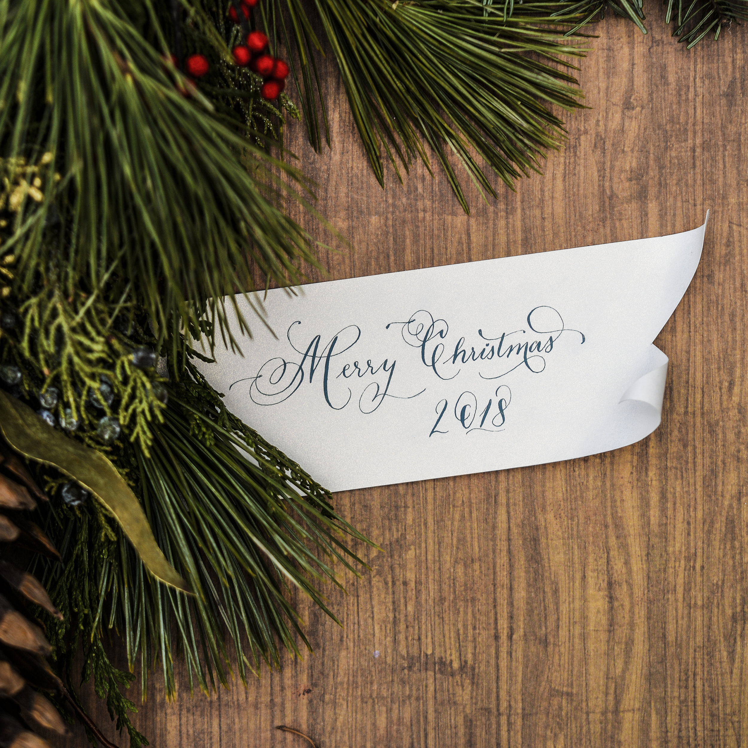 Hand calligraphed custom Christmas gift tags
