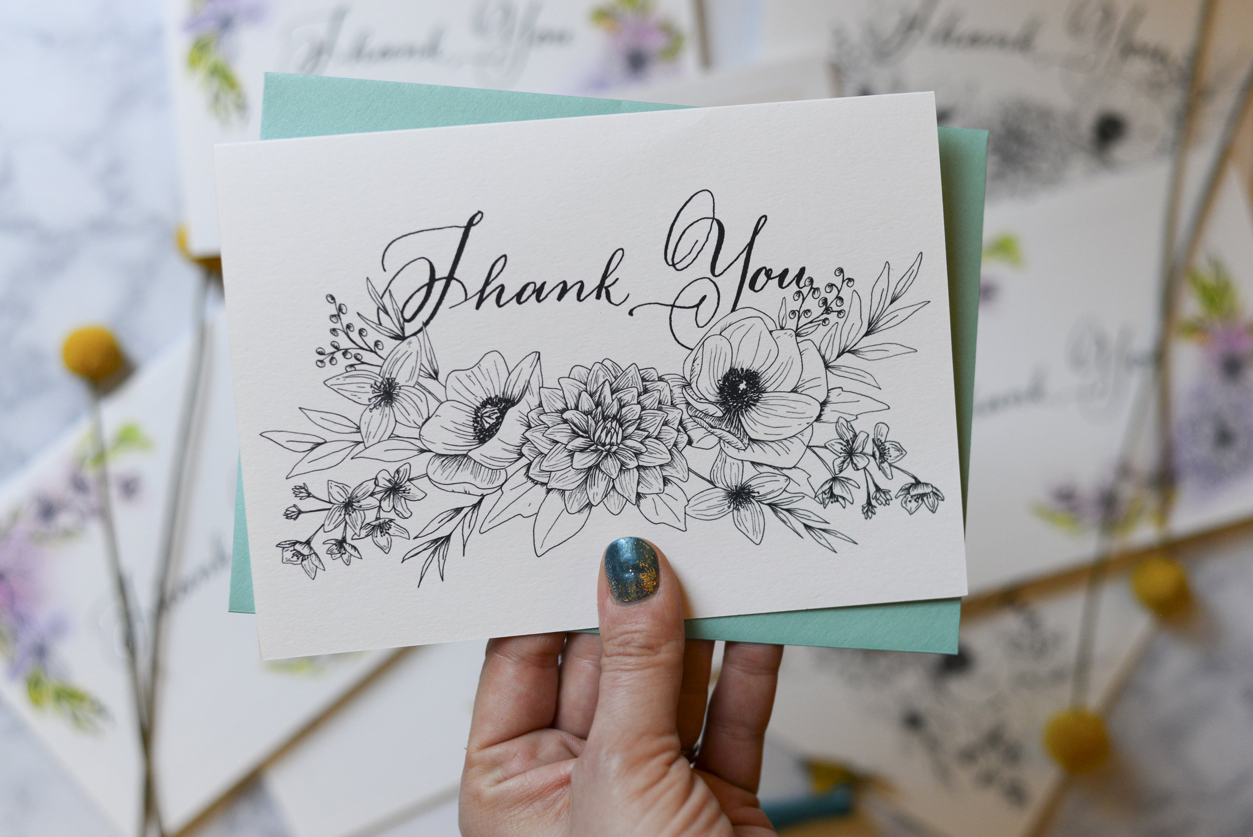 Illustrated custom thank you cards