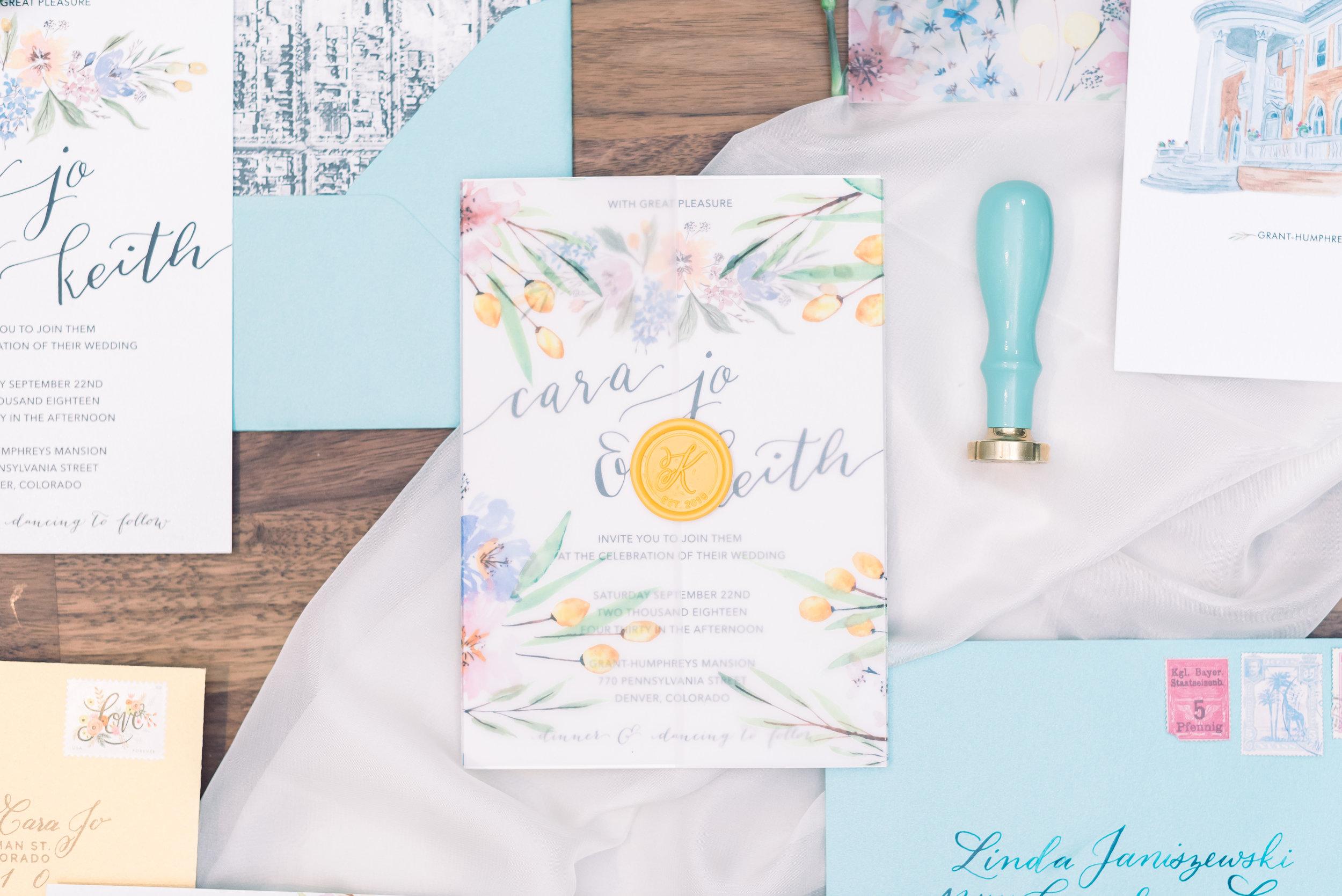 Watercolor Floral invitation suite with vellum wrap