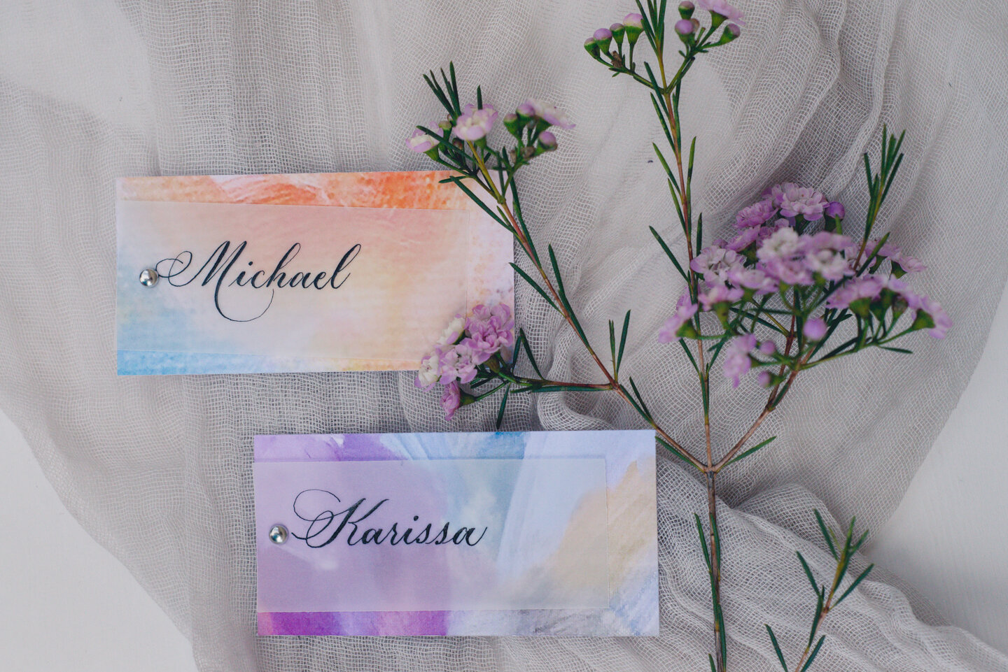 Watercolor painting with vellum overlay and Copperplate calligraphy (Caroline & Patricia Style).
