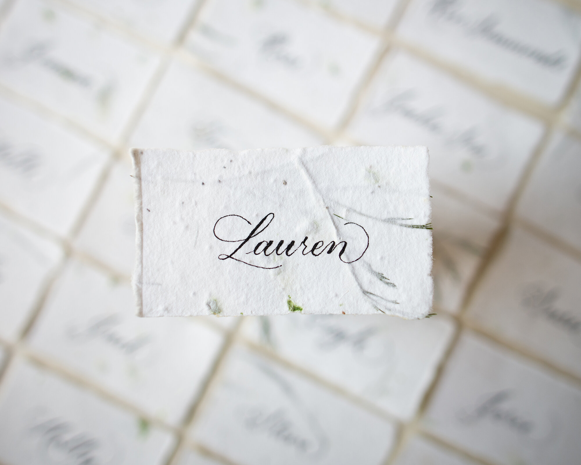 Handmade paper with real flower seeds and Copperplate calligraphy (Patricia Style) place cards