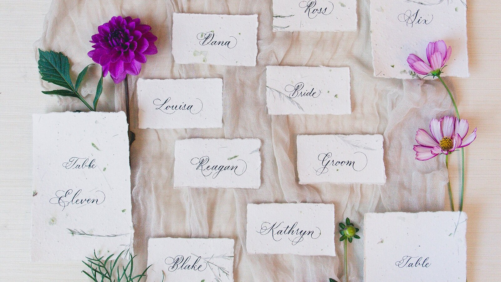 Handmade paper with flower seeds and copperplate calligraphy