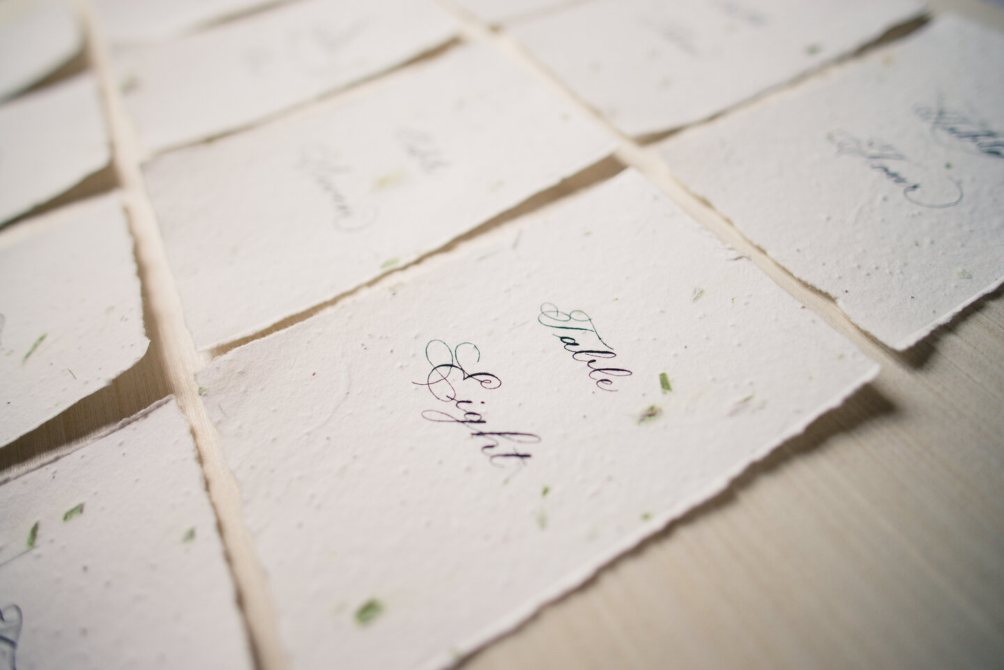 Handmade paper with real flower seeds and Copperplate calligraphy (Patricia Style) table numbers