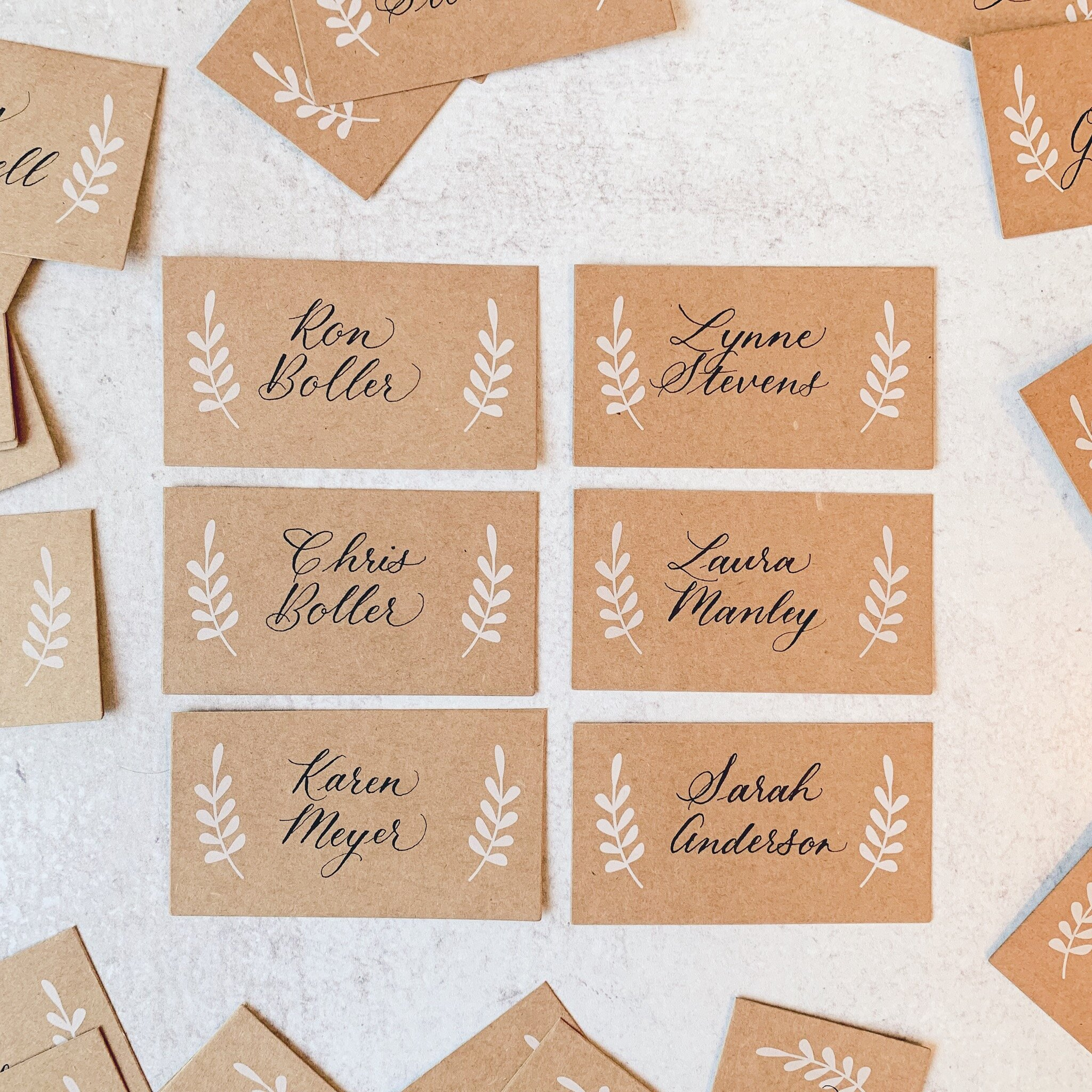 Place cards on craft brown paper with Copperplate calligraphy (Caroline style).