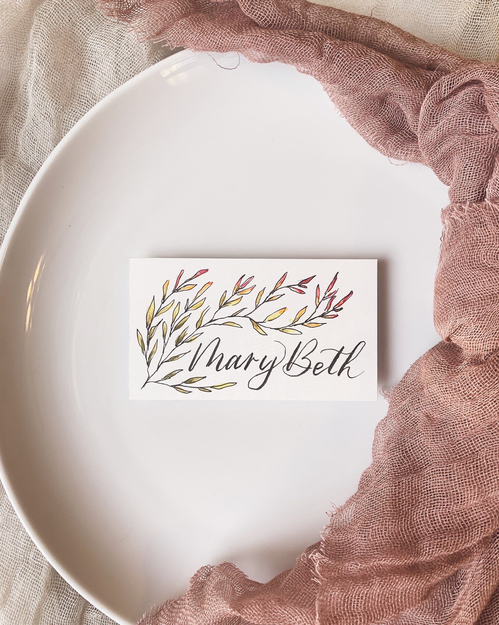 Ombré fall leaves place card with modern calligraphy