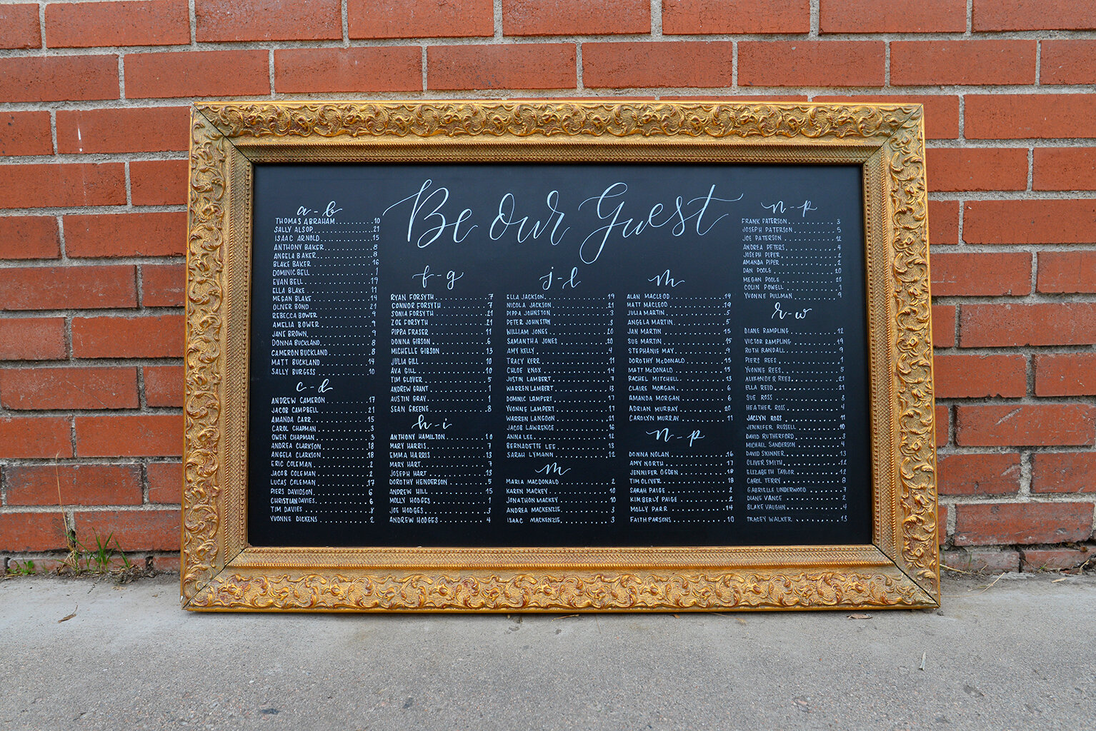 Chalkboard seating chart with vintage gold frame.