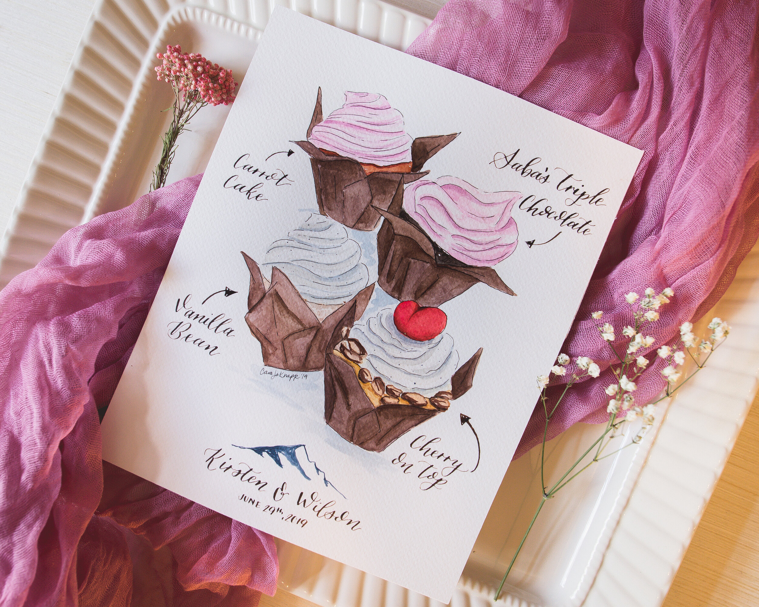 Cupcake menu with watercolor illustration and modern calligraphy.