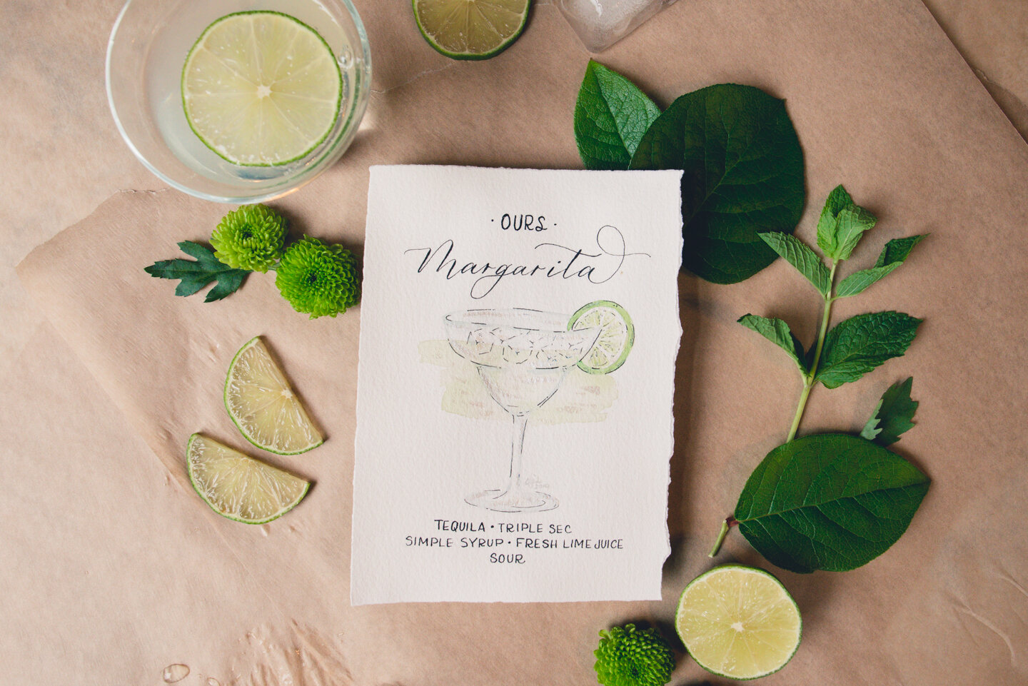 Signature cocktail menu with watercolor illustration and modern calligraphy.