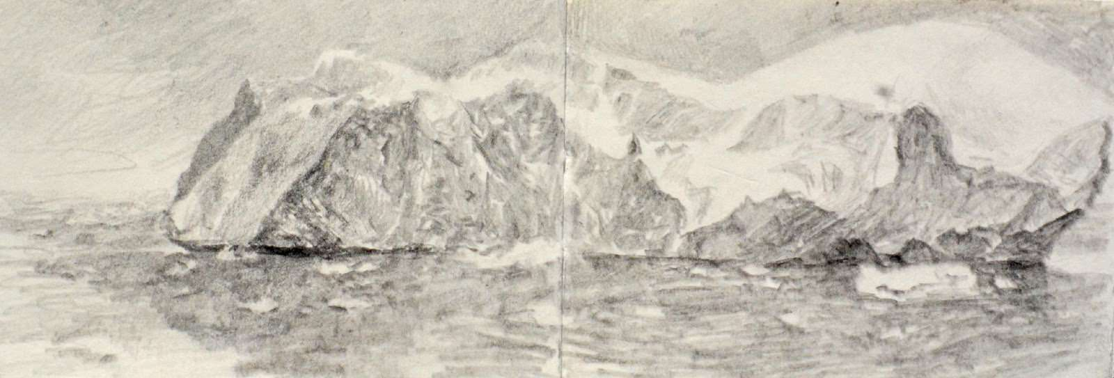 Iceberg, Weddell Sea . 9 x 24 cm, pencil on sketchbook, 2018