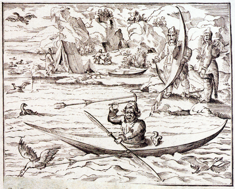 Sixteenth century illustration of Inuit man hunting based on Frobisher account