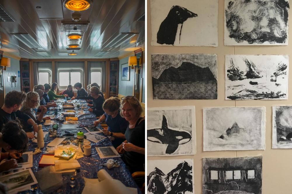 passengers drawing antarctica group