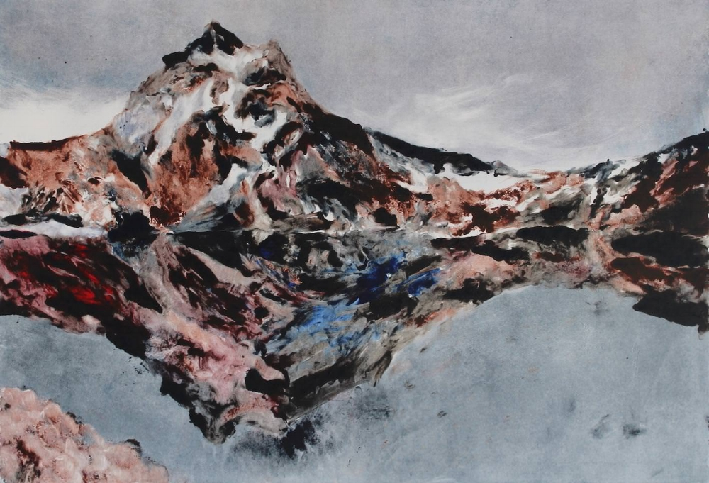 Unnamed mountain, Antarctica.  64 x 94 cm, monotype on paper, 2018