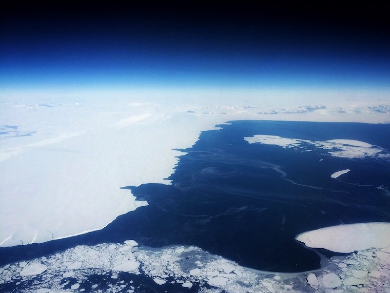 Antarctica as seen from the C-17 aircraft cockpit