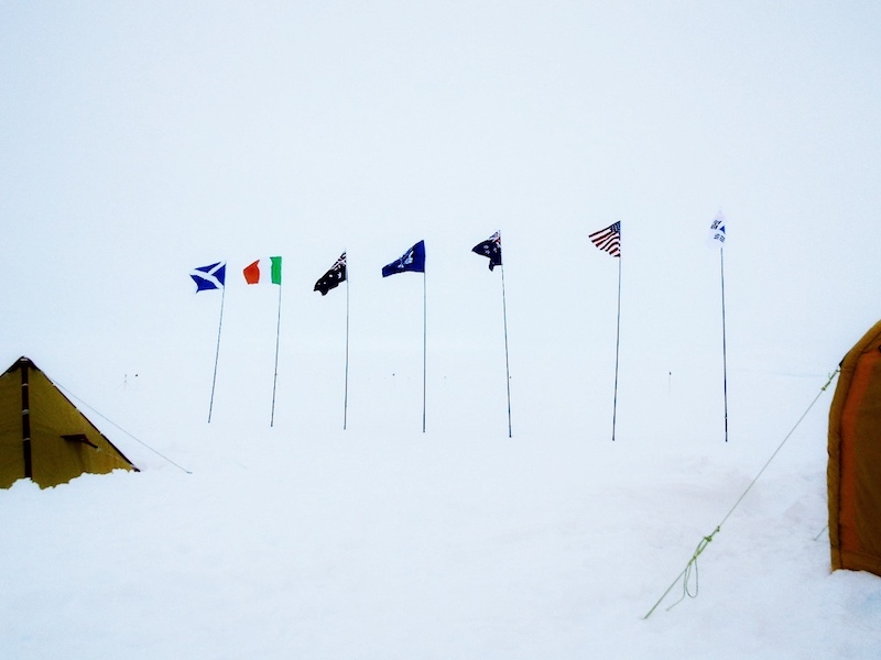 Flags representing the student's countries at the field camp, Antarctica