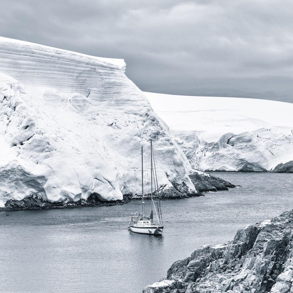 sailboat in antarctica cyanotype image christophe ngo