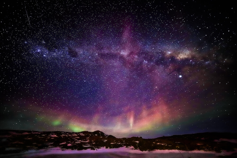 Star aurora antarctica landscape photograph