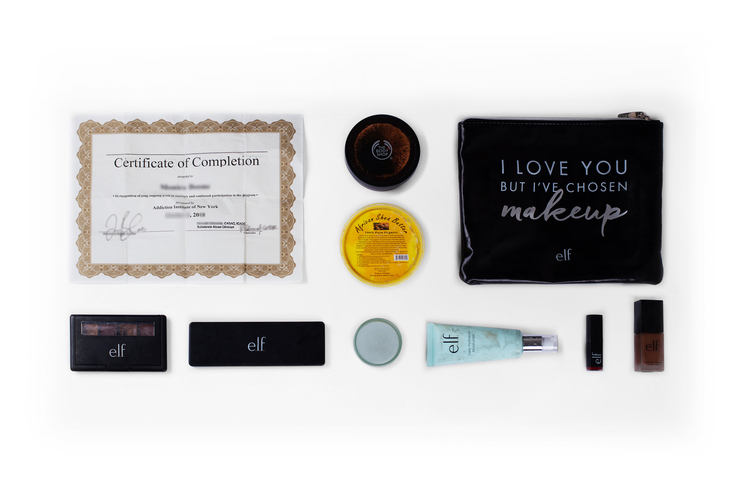 Certificate of Completion (Addiction Institute of New York) – The Body Shop – Makeup Shea Butter – Makeup Bag – Various Elf Makeup Items
