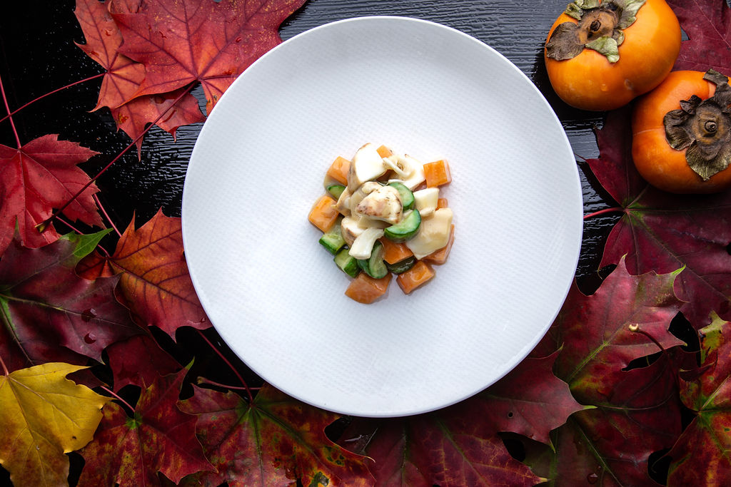 Persimmon Salad with Pine Mushrooms