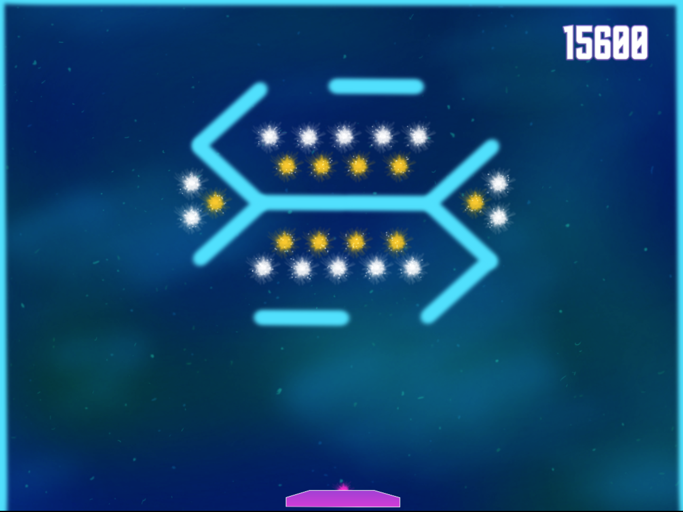 Level 5 - Helix Comet:  Things get interesting again, player must take on single-hit and double-hit stars while navigating different angles.