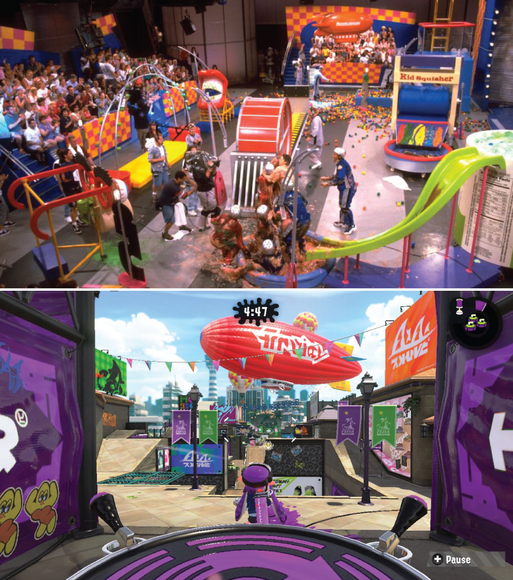 (Top) Set from the Nickelodeon show  Double Dare , (Bottom)  Splatoon  2 Stage