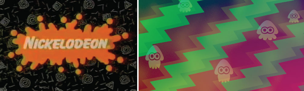 Comparing Background Patterns from Nickelodeon (left) and  Splatoon  2 (right)