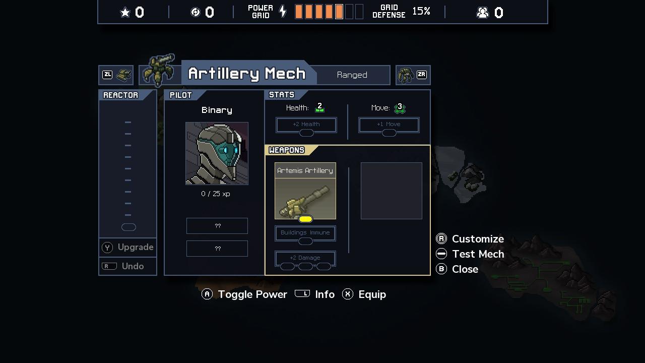 An example of a mech upgrade screen.