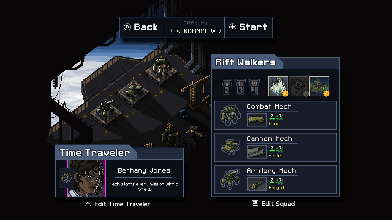 Main menu screen with achievements and pilot options.