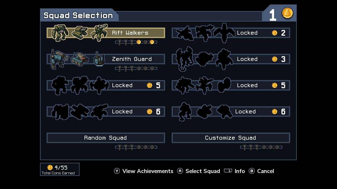 Additional mech unlock screen. As you can see I have not had a chance to try many of these.