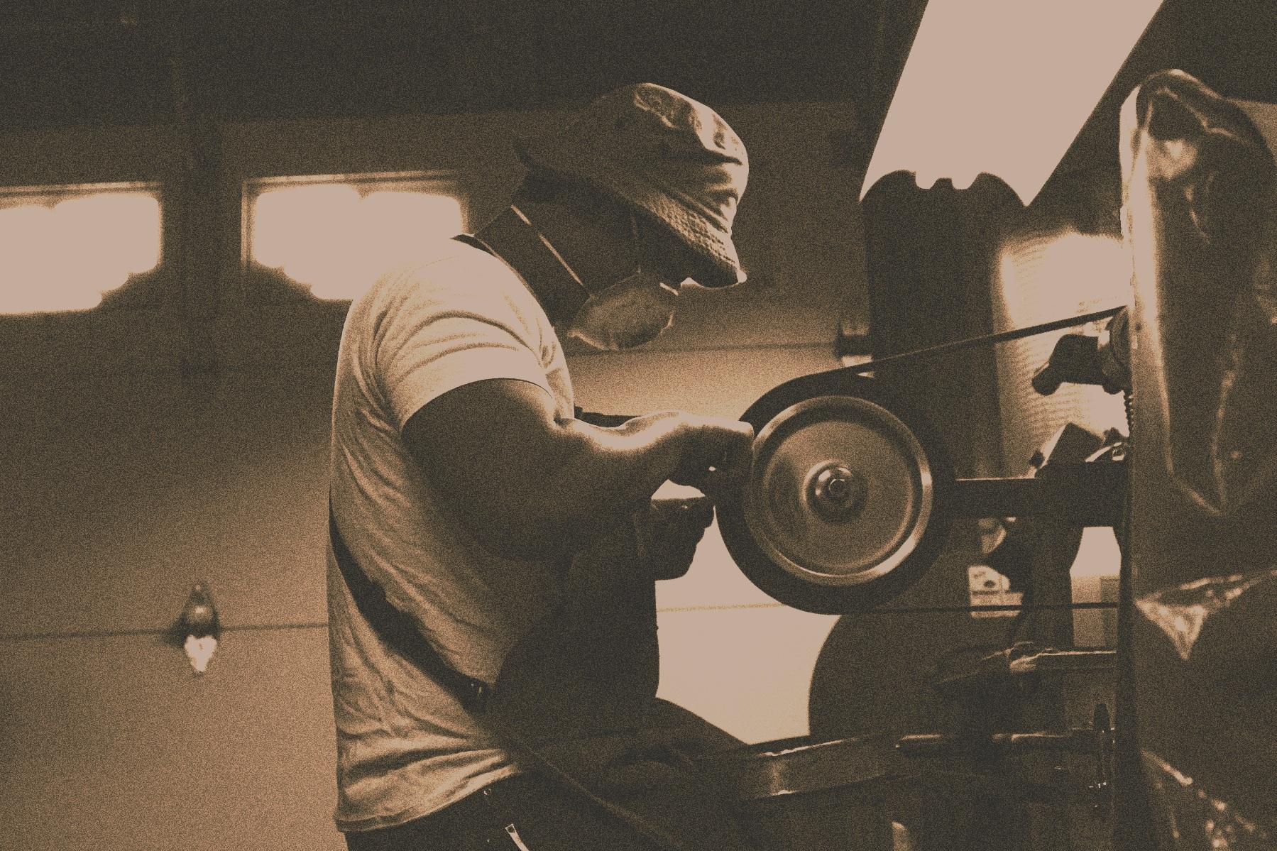At the grinder, circa 2009.