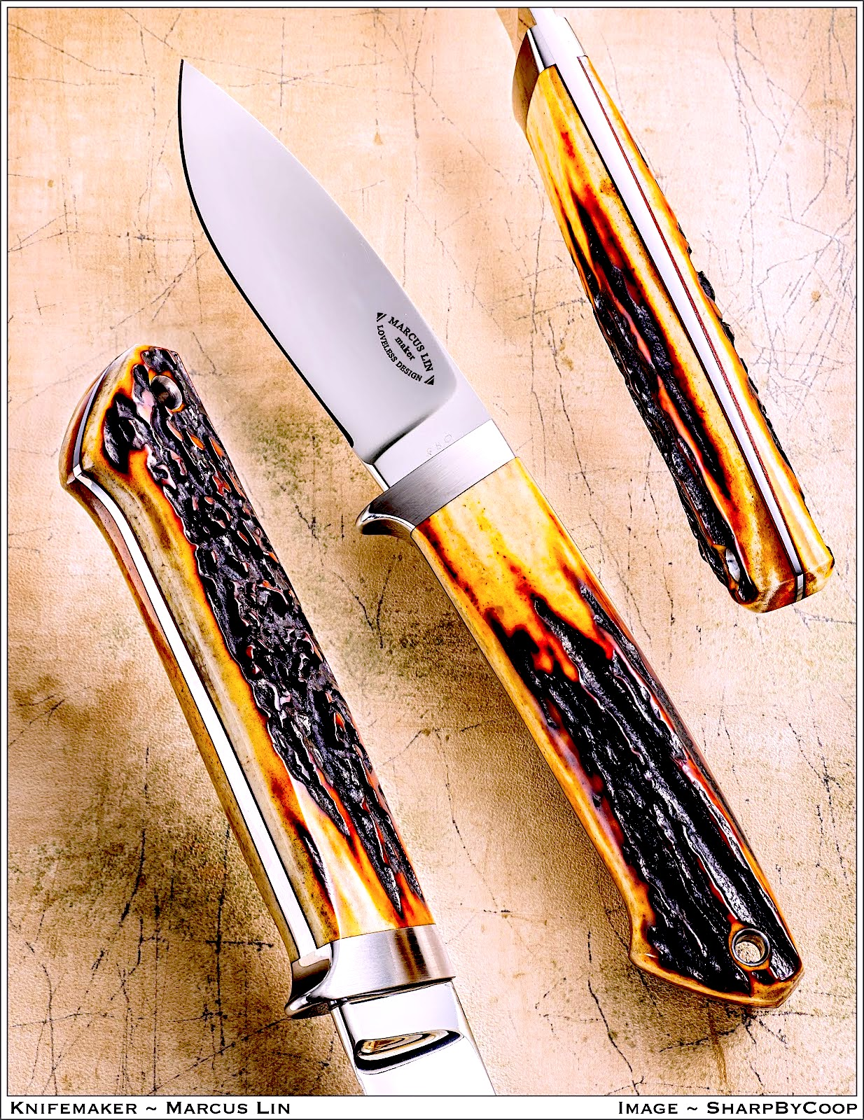 "The Loveless Designed 3-3/4 inch ""Dropped Point"" hunting knife.  (Designed by R.W. Loveless in the early 1990's with a 3-3/4"" blade. There are approximately 5 or more versions of the ""Dropped Point Hunter"" -this was Bob's last rendition of his famous design)."