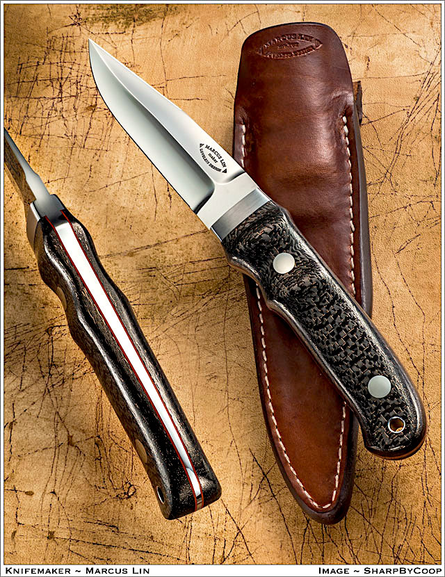 "The Loveless Designed ""Hideout"" knife.  (With the sculpted ""Improved handle"" in rare ""Lightning Strike"" Carbon Fiber)."