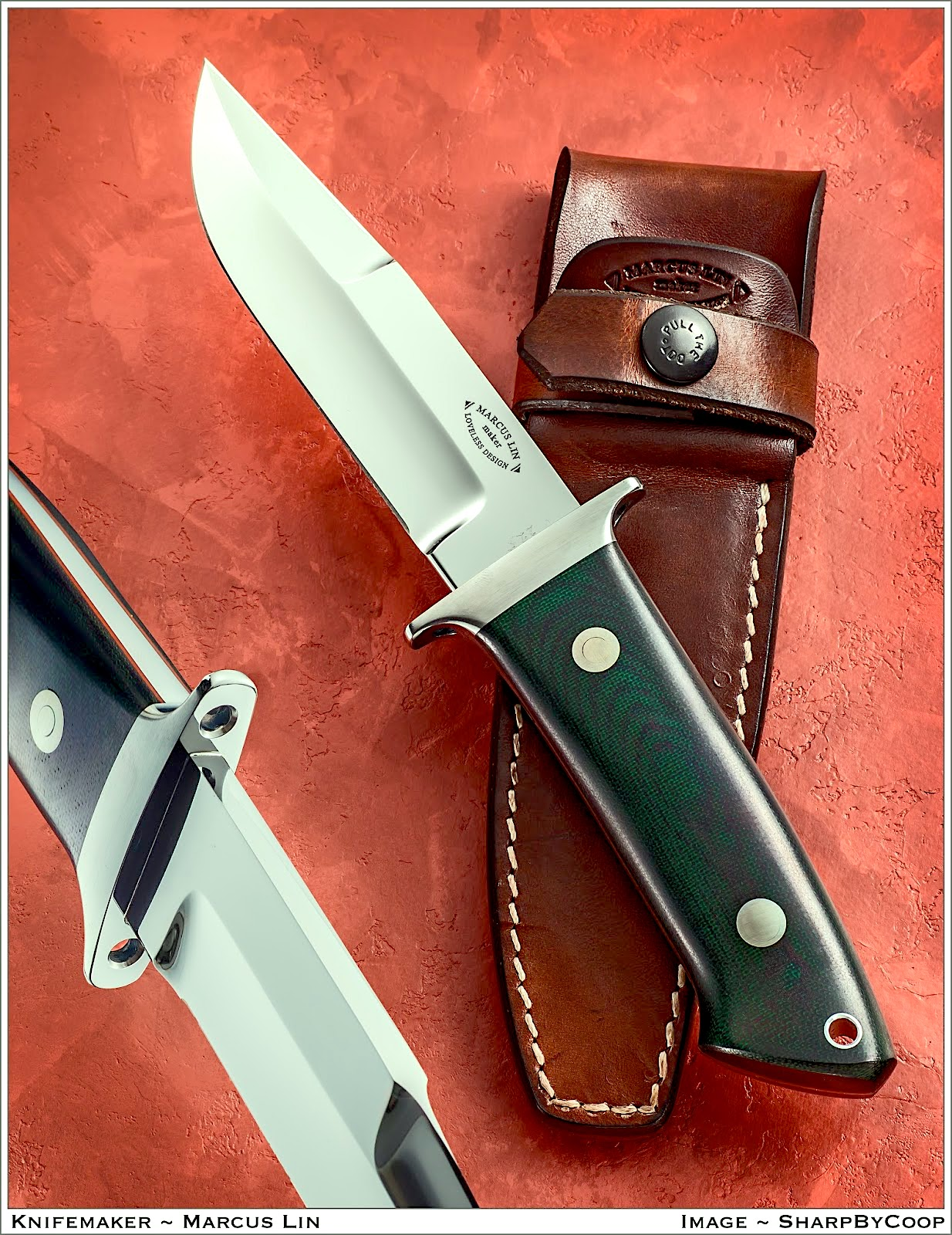 "The Loveless Designed ""Chute"" knife.  (The original was designed for CIA Agent, Harry Archer, in the late 1960's. This one is handled in green canvas Micarta, and features the optional ""holes in the guard"")."