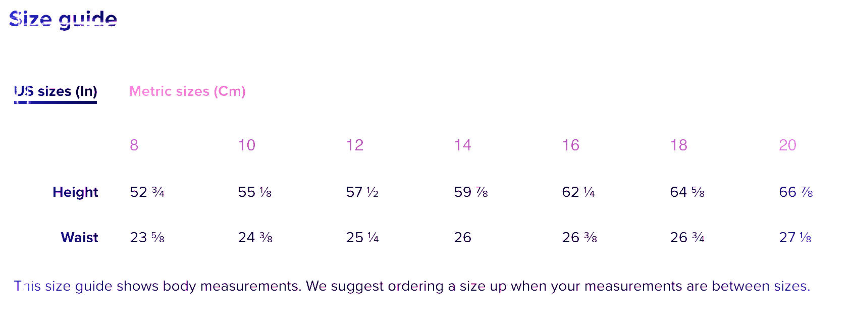 Teen Size Guide