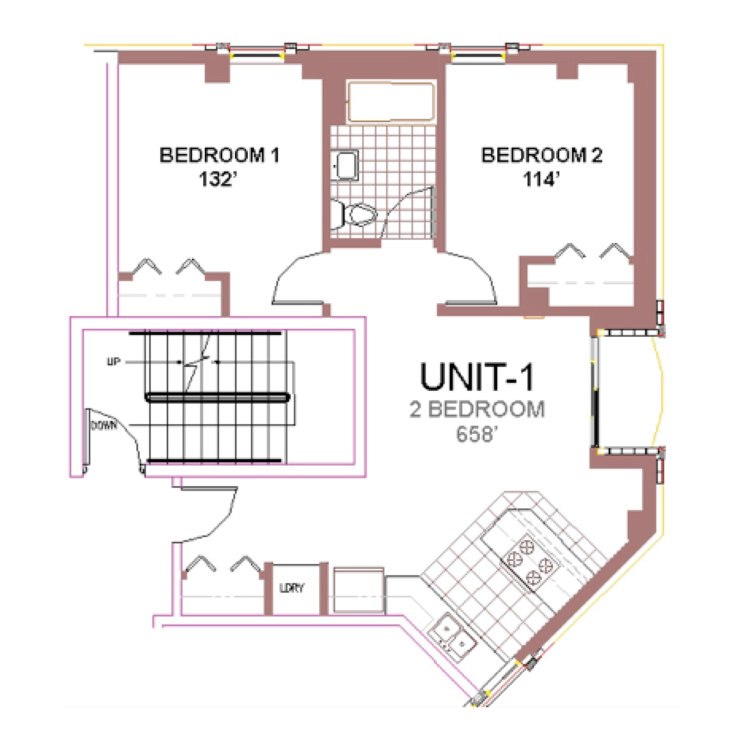 The Aberdeen Apartment Layout 1, 2 bedroom floor plan