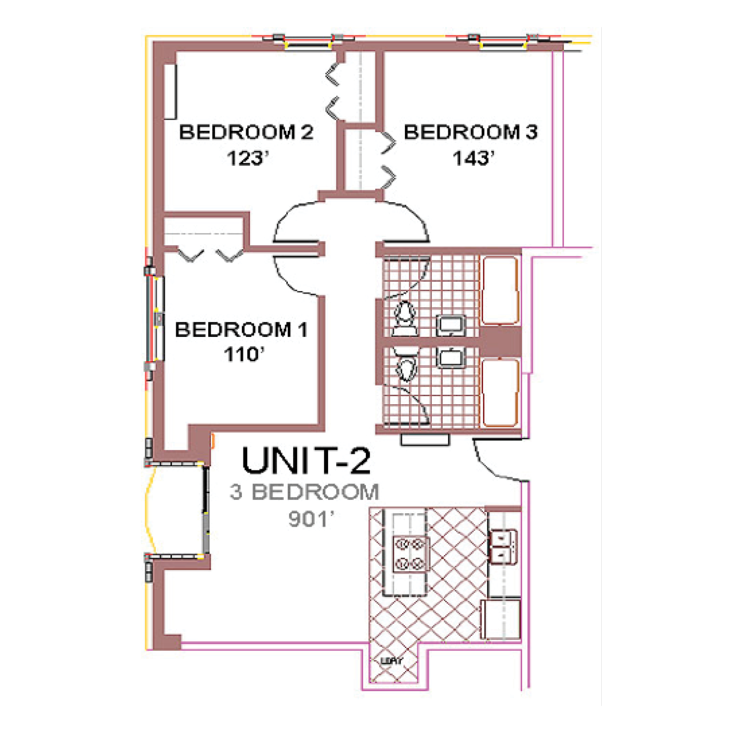 The Aberdeen Apartment Layout 2, 3 bedroom floor plan