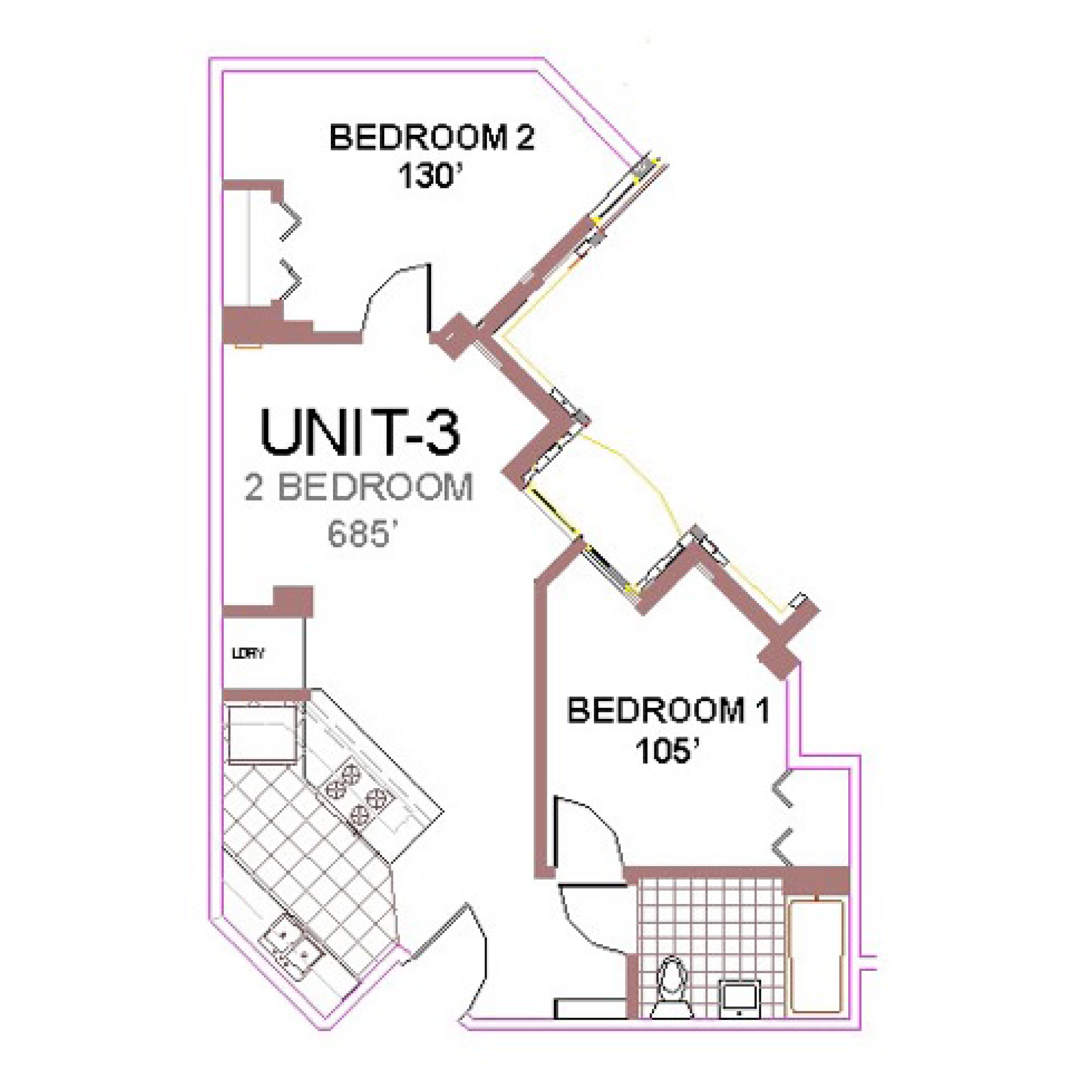 The Aberdeen Apartment Layout 3, 2 bedroom floor plan