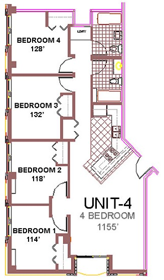 The Aberdeen Apartment Layout 4, 4 bedroom floor plan