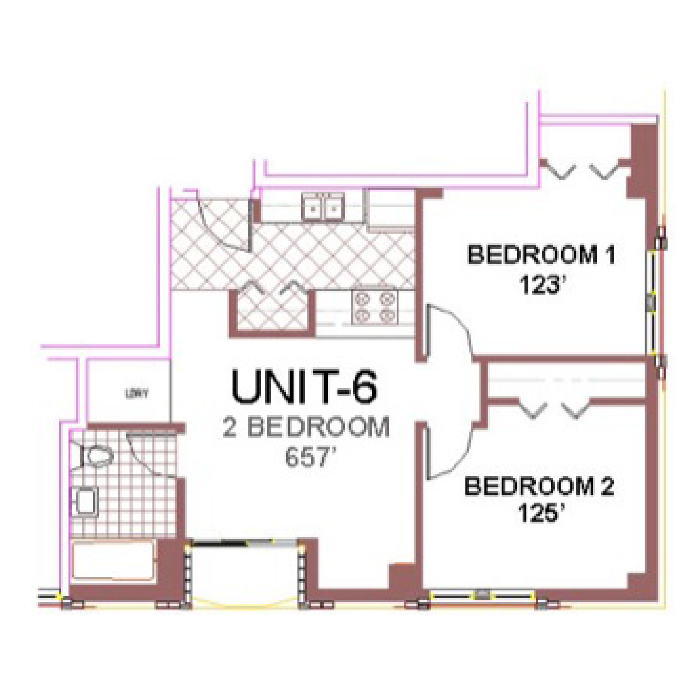 The Aberdeen Apartment Layout 6, 2 bedroom floor plan