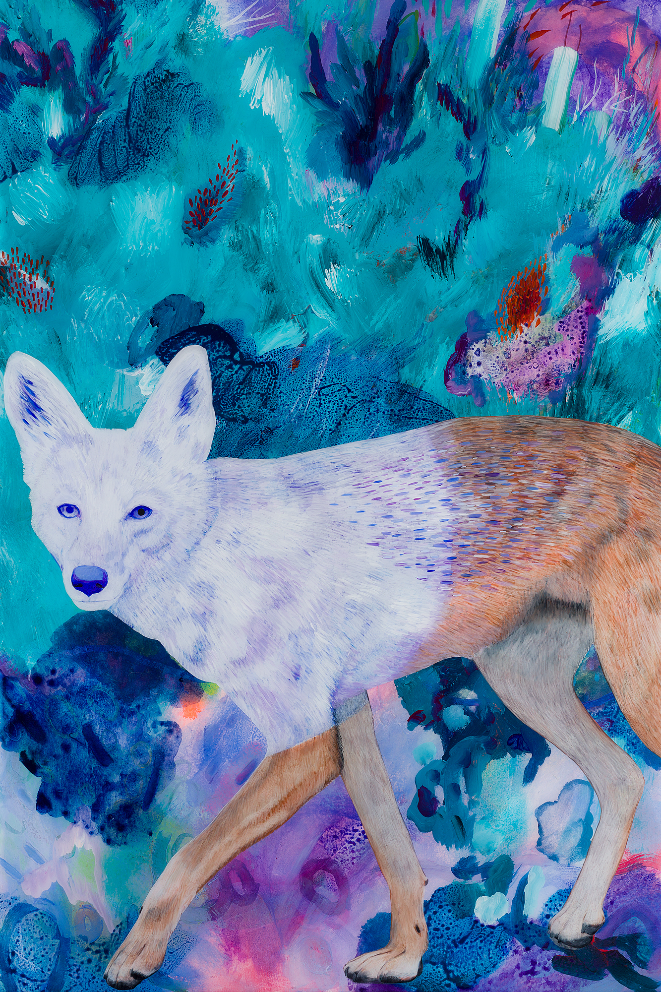 Running Coyote (II) , 2018. Coloured pencil, acrylic, and resin on wood panel, 36x24 inches. Sold. Prints available.