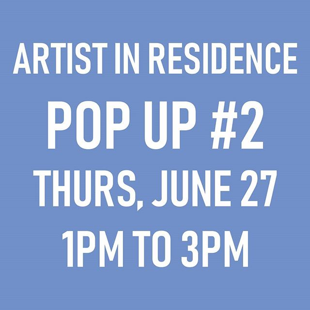POP UP #2 next Thursday! Hope you can make drop by! 😀  This one's my first pop up inside of the Roundhouse building and I'm looking forward to working on a very special project that will connect to the rest of the residency.  Exact location to be confirmed day-of, look for the sandwich board.  Stay tuned for hints and photos next week! . . .  #sarahronaldair #air #artistinresidence #roundhousecommunitycentre