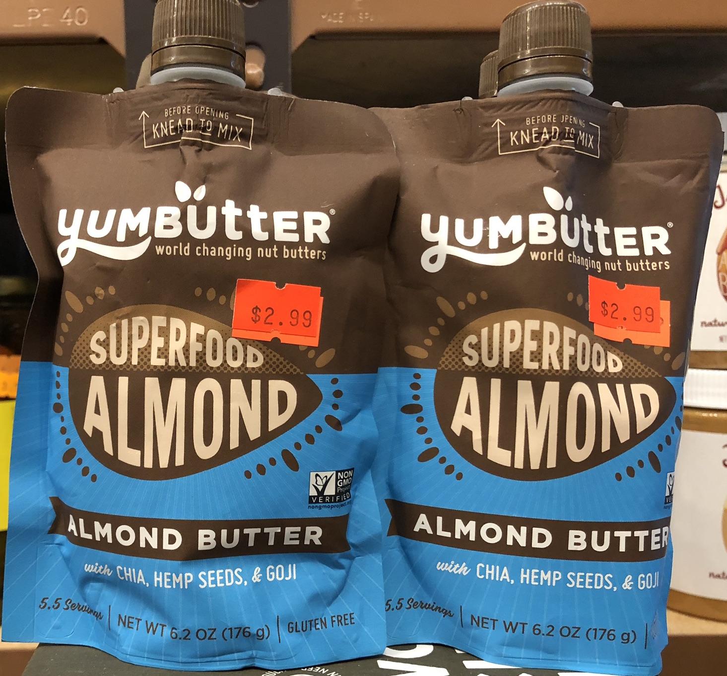 Yumbutter Superfood Almond Butter with Chia, Hemp Seeds & Goji